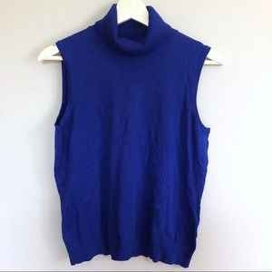 NWT Cable and Gauge blue mock neck sleeveless top